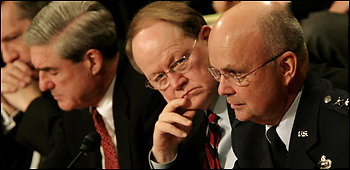 From left, FBI Director Robert S. Mueller III, Director of National Intelligence Mike McConnell and CIA Director Michael V. Hayden testified on Capitol Hill in February about the annual threat assessment.