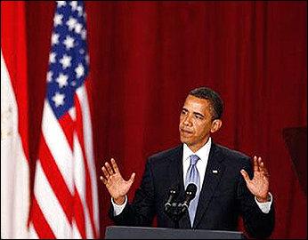 Obama speaking in Cairo, Egypt. Image courtesy of: http://tinyurl.com/nnskkg