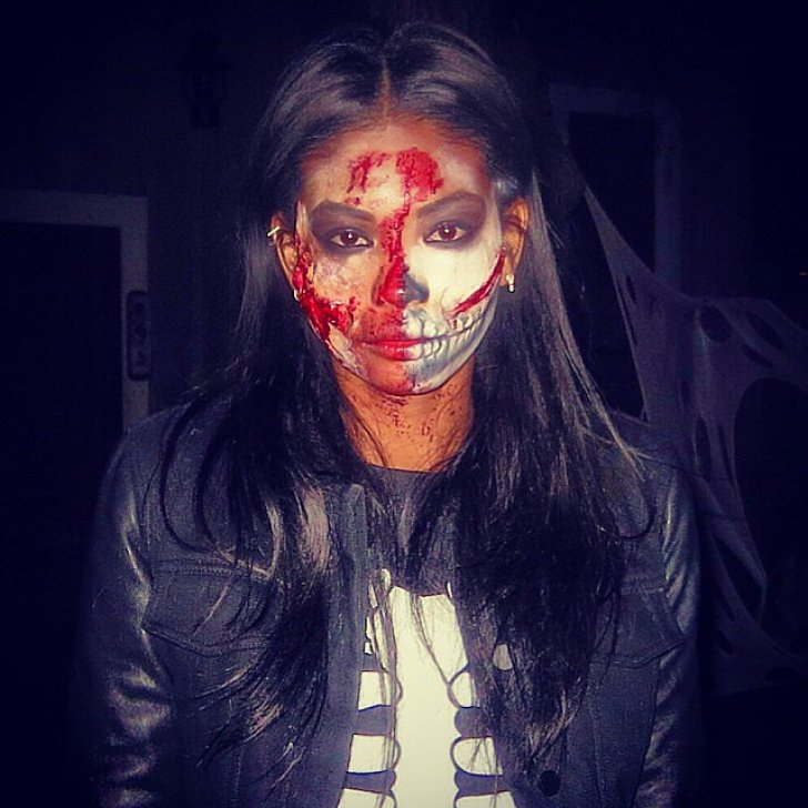 Chanel Iman sported scary makeup.<br /><br /> Source: Instagram user chaneliman<br /><br />