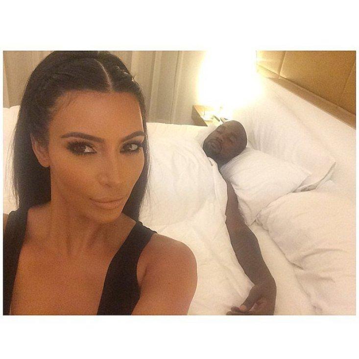 Kim showed Kanye sprawled out on the bed. Source: Instagram user kimkardashian
