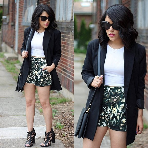 Cropped With High-Waisted Shorts and a Long Blazer