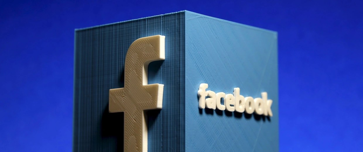 Image: A 3D plastic representation of the Facebook logo is seen in this illustration in Zenica