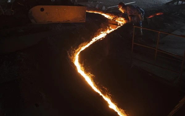 Image: A steel worker in Changzhou, China