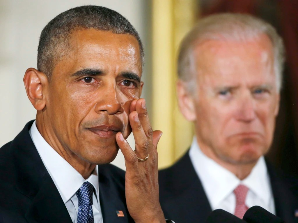 Joe looks on as Barack wipes away tears while speaking about gun violence. January, 2016.