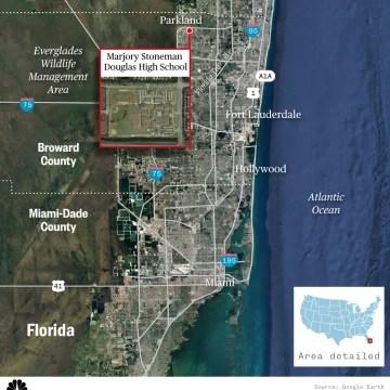 Map locating Marjory Stoneman Douglas High School in Parkland, Florida