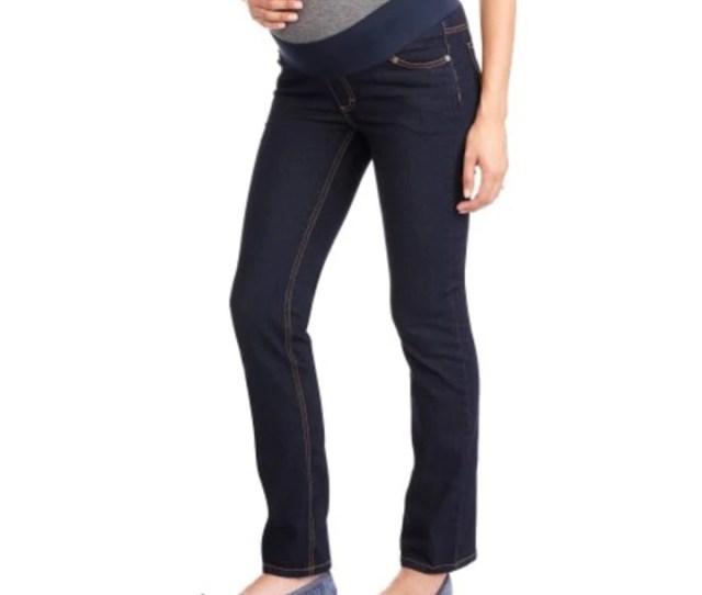 Oh Mamma Maternity Demi Panel Super Soft Straight Leg Jeans