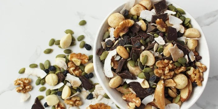 Bowl of trail mix as a healthy office snack