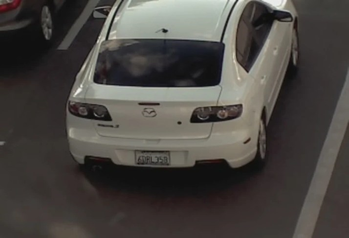 Photo of Ashley's car and license plate