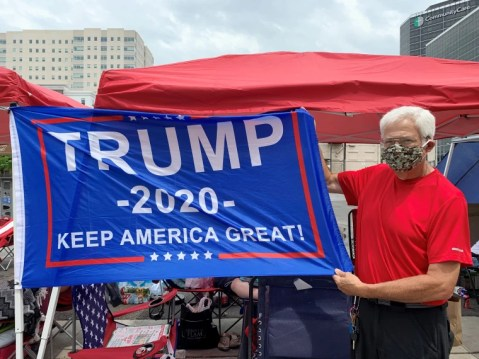 David Riniker in line for President Trump's rally in Tulsa, Okla.