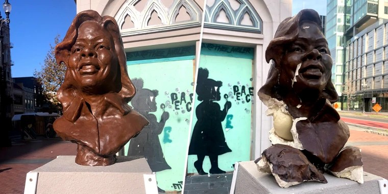 Breonna Taylor statue vandalized in Oakland, California