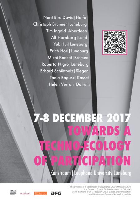 Das Veranstaltungsplakat mit weiß-rosa Schrift zeigt ein schwarz-weiß Foto von abstrakten Gebäudestrukturen.