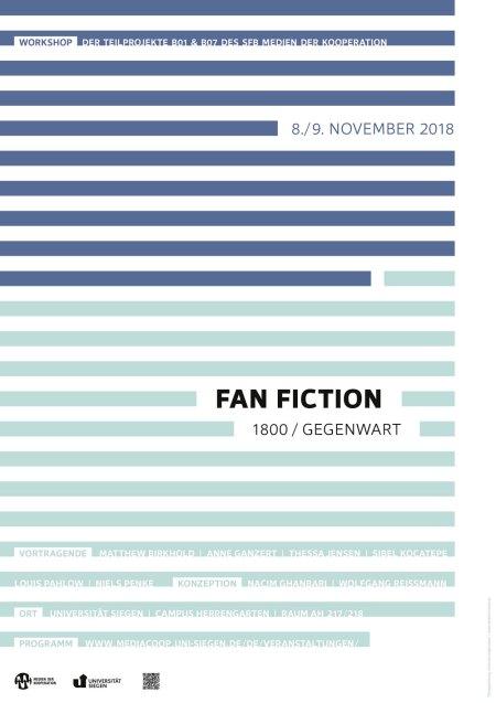 Abbildung zeigt Plakat der Veranstaltung Fan Fiction 1800 / Gegenwart, dunkelblaue Linien in der oberen und hellblaue horizontale Linien in der unteren Hälfte