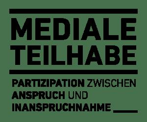 Logo der Forschungsgruppe Mediale Teilhabe mit schwarzem Schriftzug vor weißem Hintergrund