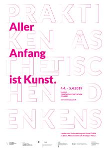 Plakat mit Aufschrift Praktiken ästhetischen Denkens. Rot Umrandete Weiße Buchstaben vor weißem Hintergrund