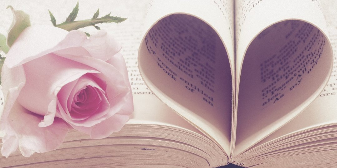 a flower sits on a book whose pages are folded into a heart, probably after it read my love letter to print