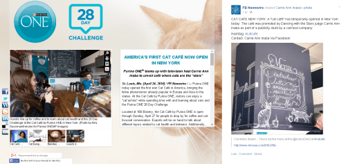 Left to right: Purina ONE's multimedia news release with images and videos from the Cat Cafe; FB Newswire's posting of Carrie Ann Inaba's photo.
