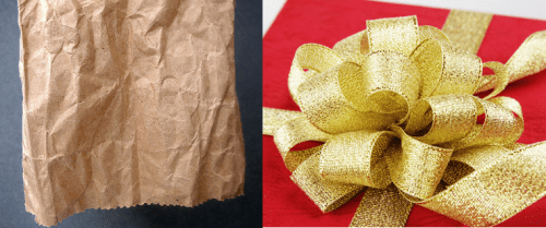 Wrapping paper images by Lara604 (left) and Queen Bee (right); both used under CC by 2.0 license