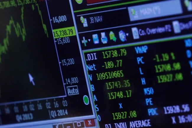 Computer screen displaying financial data
