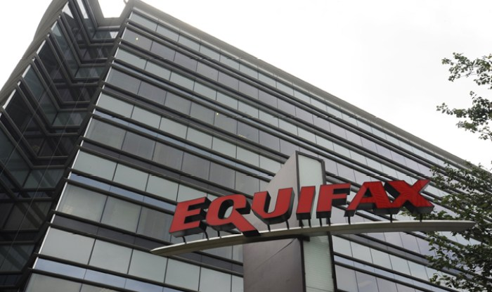 Equifax logo outside corporate office building