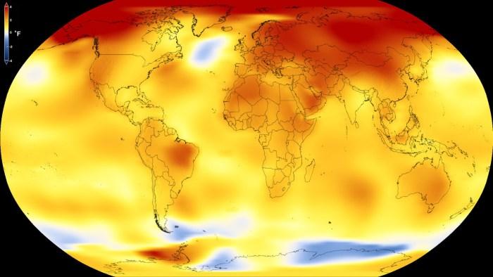 NASA global temperatures map