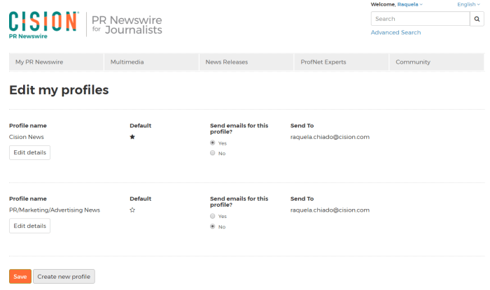"""PR Newswire for Journalists """"Edit my profiles"""" page"""