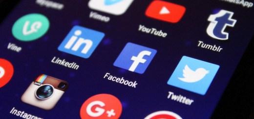 Phone displaying social media icons