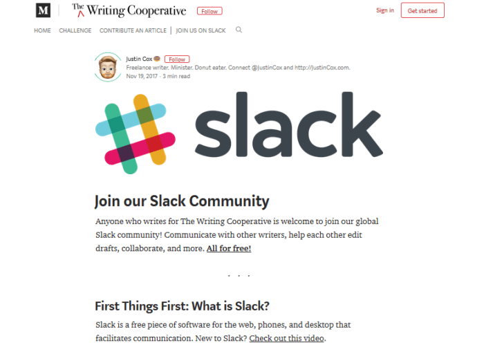 The Writing Cooperative on Slack