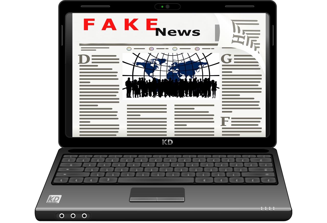 Fake News Article on Laptop