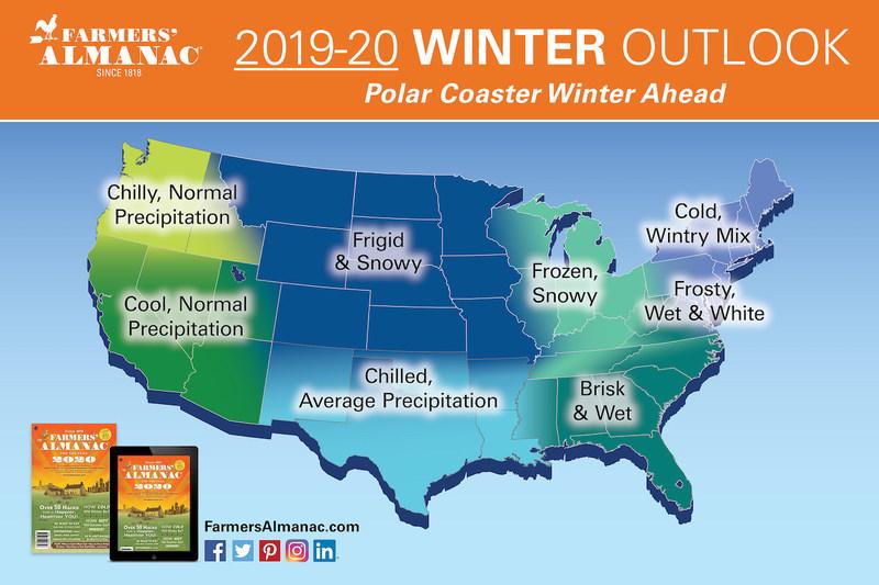 Farmers' Almanac 2019-2020 Winter Outlook map - Polar Coaster Winter Ahead
