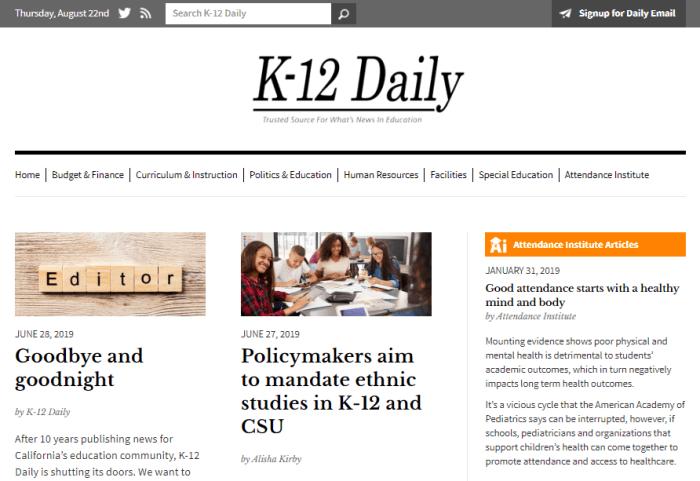 K-12 Daily website homepage