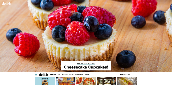 Top Food News Sites - Delish homepage