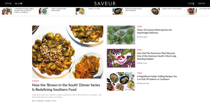Top Food News Sites - Saveur homepage