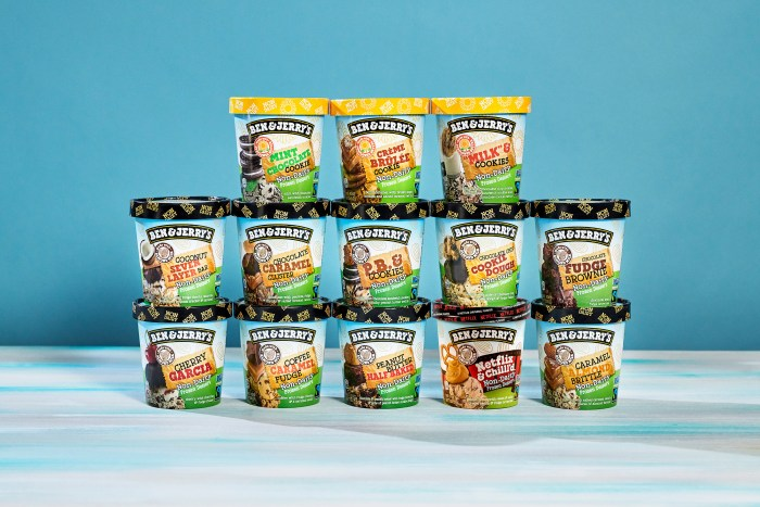 Stack of Ben & Jerry's non-dairy ice creams