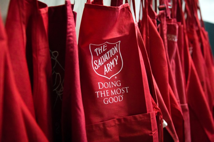 On PR Newswire - March 20 2020 - Group of red Salvation Army aprons