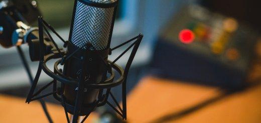 Closeup photo of a studio microphone