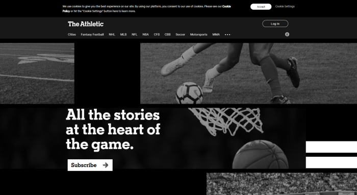 Top Sports News Sites - The Athletic homepage
