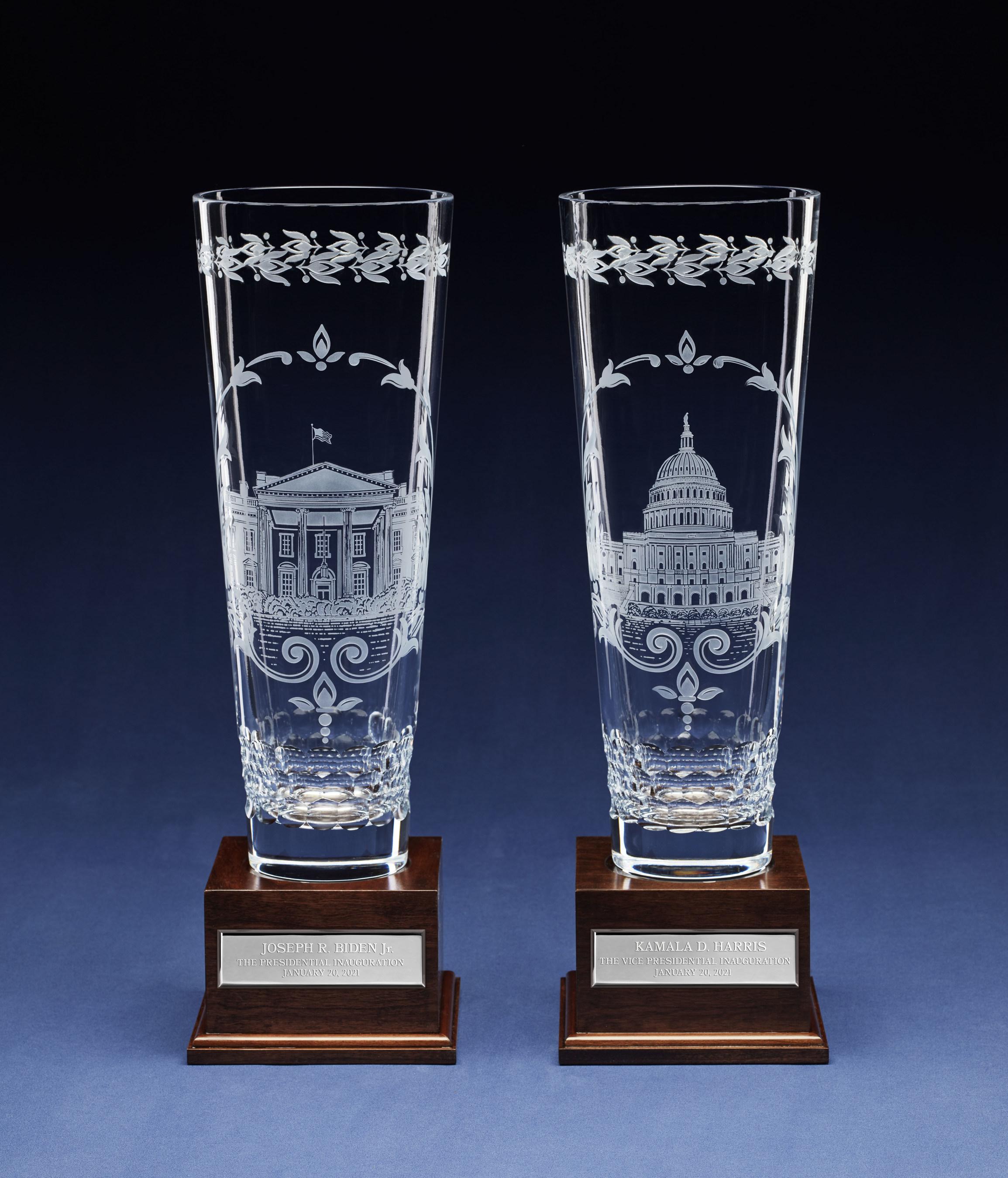 Lenox Corp. inaugural gifts, engraved crystal vases