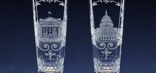 Lenox Corp. inaugural gifts, engraved crystal vases