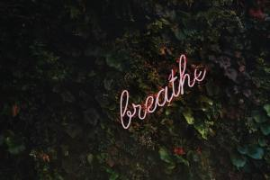 """Stress Management Tips for Journalists - image of a neon sign reading """"breathe"""""""