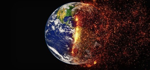 Earth as seen from space, with half of the globe disintegrating