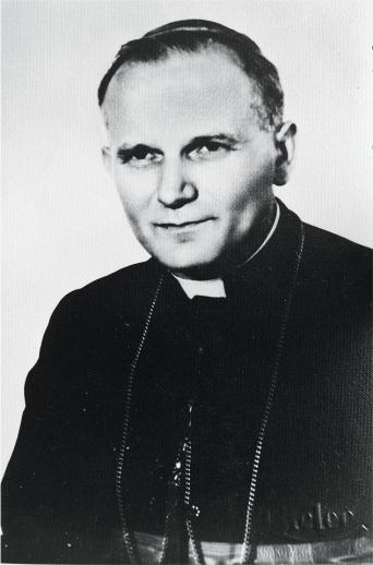 karol wojtyla as a young man and as bishop - original picture - Archdiocesan Museum - Krakow, Poland