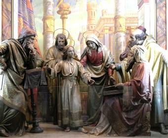 Nossa Senhora encontra o menino Jesus discutindo com os doutores no Templo
