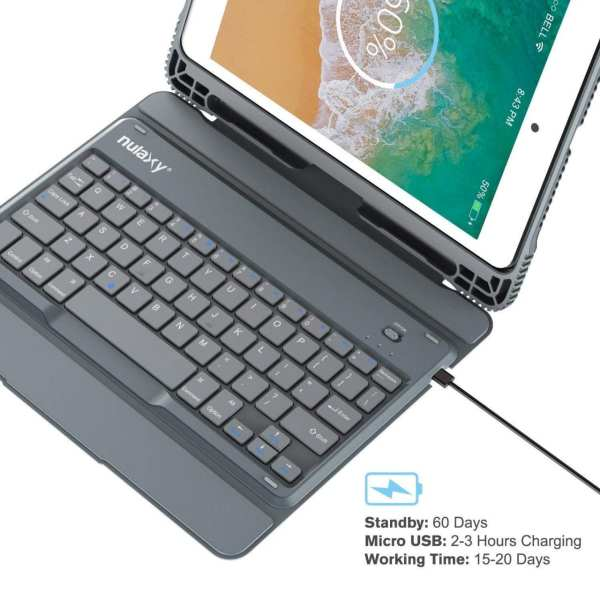 Nulaxy iPad Keyboard Case Compatible with iPad Air1/2, iPad Pro 9.7, iPad 9.7 2017/2018 - Detachable Bluetooth Keyboard/Built-in Magnetic Foldable Solid Stand with Auto Sleep/Wake - KM14