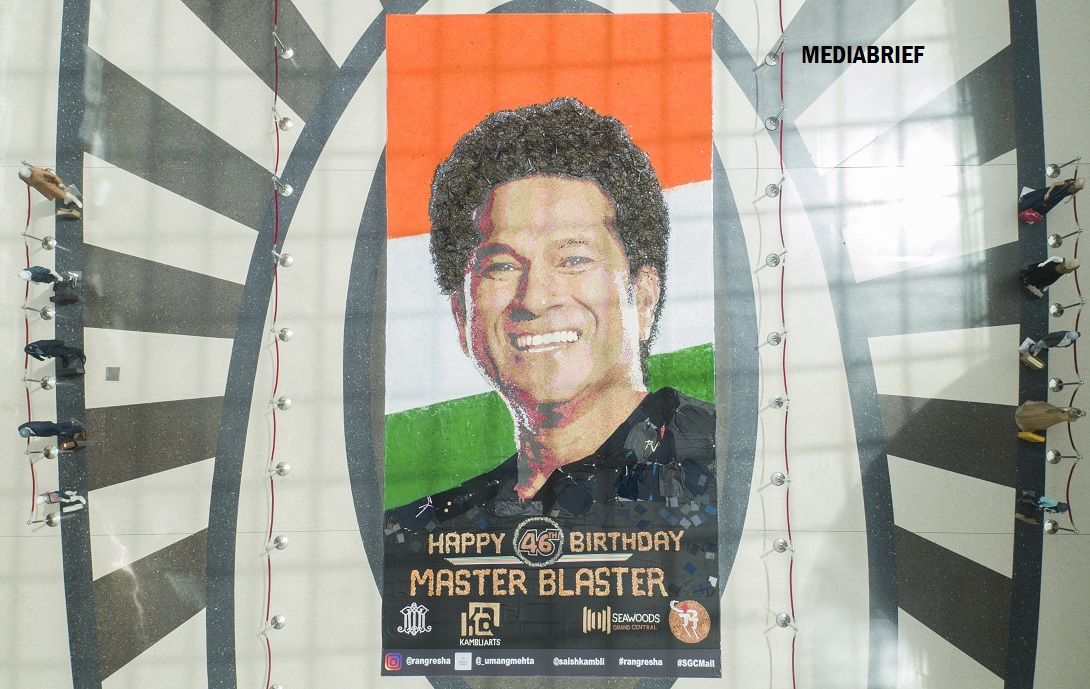 Guinness Record attempt with massive mosaic on Sachin's 46th birthday