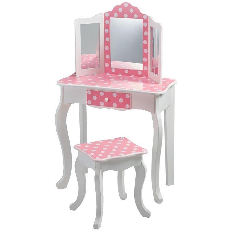 Teamson Kids Fashion Prints Polka Dot Vanity Table And