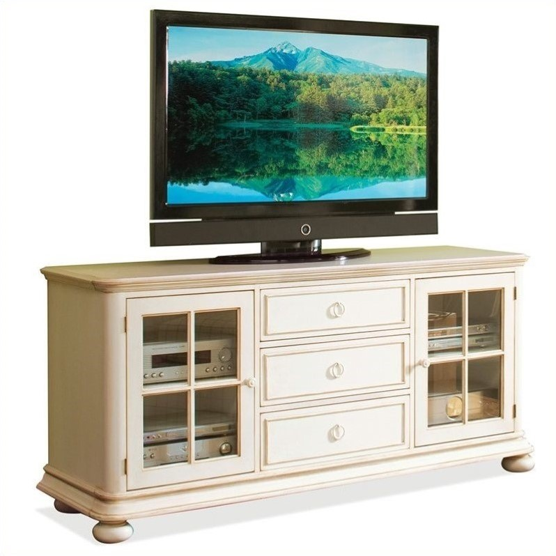 Riverside Furniture Placid Cove 69 Inch TV Console In Honeysuckle White 16740