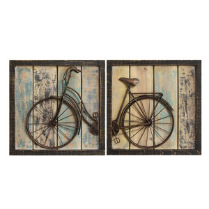Shop  Rustic Tuscan Decor   Bellacor Rustic Bicycle Wall Decor  Set Of Two