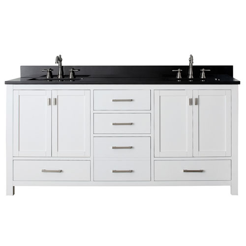 modero white 72 inch double sink vanity with black granite marble top