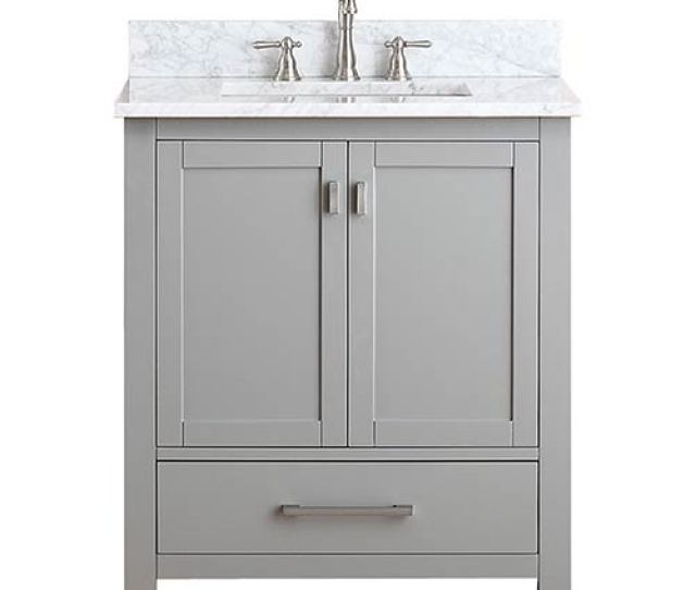 Avanity Modero Chilled Gray 30 Inch Vanity Combo With White Carrera Marble Top