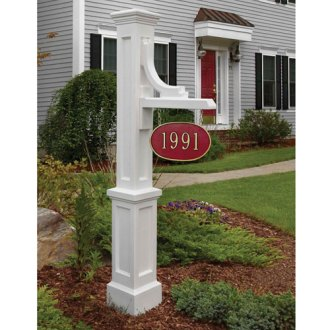 House Numbers   Plaques   Address Numbers In Brass  Black  Stainless     Woodhaven White Address Sign Post